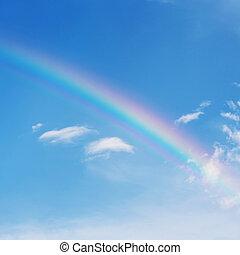 beau, arc-en-ciel, coloré, ciel bleu, fond