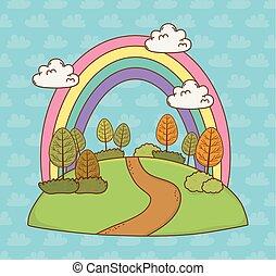 beau, arc-en-ciel, paysage