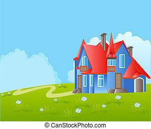 beau, aromate, ciel, fond, maison, balcon