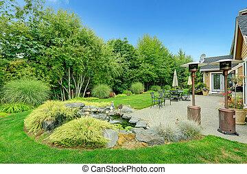 beau, arrière-cour, patio, paysage, secteur