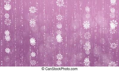 beau, arrière-plan., animé, flocons neige