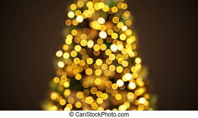 beau, arrière-plan doré, animation., defocused, année, concept., seamless, lumières, barbouillage, 3d, nouveau, noël, heureux, 3840x2160, bokeh., clignotant, joyeux, hd, célébration, arbre, salutation, 4k, ultra