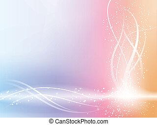 beau, arrière-plan pastel, à, étoiles, et, swirls.