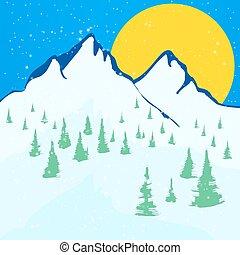 beau, arrière-plan., paysage hiver