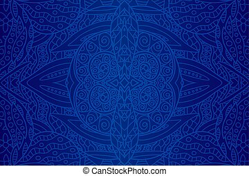 beau, art, à, seamless, bleu, ethnique, modèle