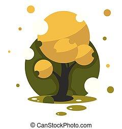 beau, art, arbre, illustration, automne, conception, ton