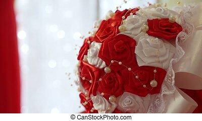 beau, art, salle, bouquet, vidéo, mariage, table, rouges