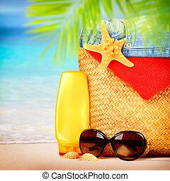 beau, articles, plage