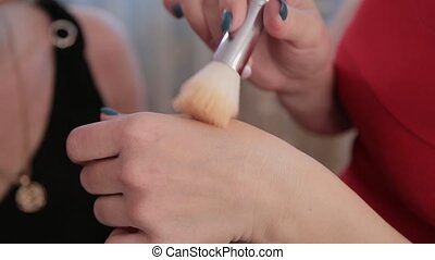 beau, artiste, maquillage, professionnel, woman., marques