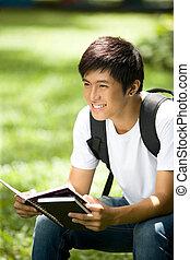 beau, asiatique, étudiant, jeune
