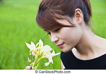 beau, asiatique, woman.