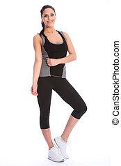 beau, athlétique, équipement, girl, exercice, heureux