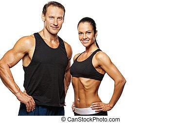 beau, athlétique, couple.