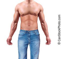 beau, athlétique, jean, isolé, homme