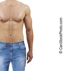 beau, athlétique, jean, isolé, portrait, homme