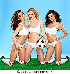 beau, athlétique, lingerie, trois femmes