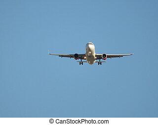 beau, atterrissage, photo, terre, avion, aéroport, prendre