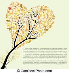 beau, automne, arbre, forme coeur, pour, ton, conception