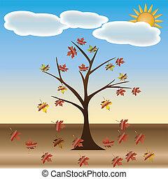 beau, automne, arbre, ton, design.