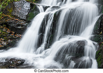 beau, automne, chute eau, longue exposition