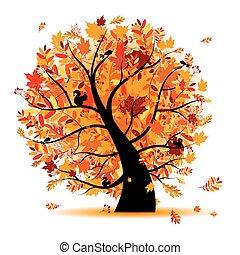 beau, automne, conception, arbre, ton