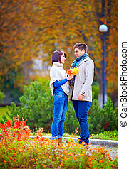 beau, automne, couple, dater, parc