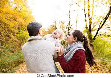 beau, automne, famille, jeune, promenade, forest.