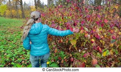 beau, automne, femme, parc