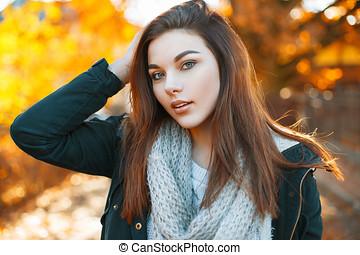 beau, automne, femme, parc, jeune