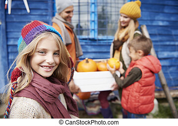 beau, automne, girl, famille