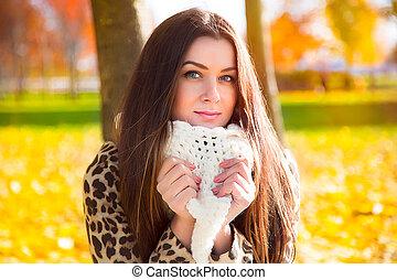 beau, automne, girl, fond