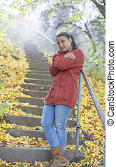 beau, automne, girl, glacial
