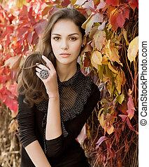 beau, automne, girl, jardin