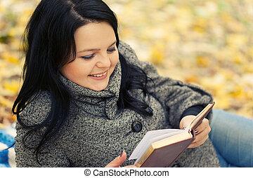 beau, automne, girl, livre, parc