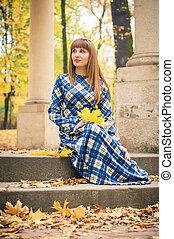 beau, automne, girl, parc