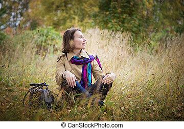 beau, automne, girl, park.