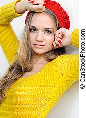 beau, automne, girl, vêtements, portrait