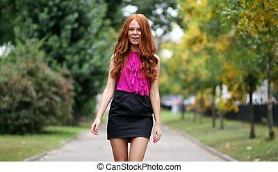 beau, automne, park?, femme, jeune