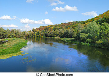 beau, automne, paysage rivière, vue