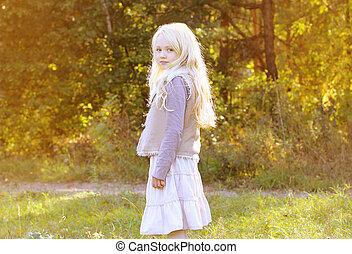 beau, automne, petite fille