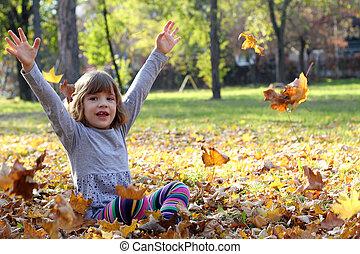 beau, automne, peu, parc, girl