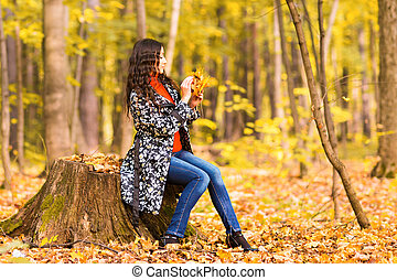 beau, automne, style, girl, nature