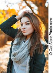 beau, automne, tricoté, chandail, parc, veste, girl