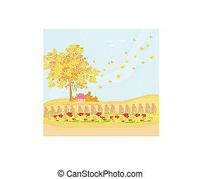 beau, automne, vecteur, paysage