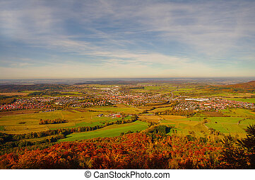 beau, autour de, automne, allemagne, hohenzollern, château
