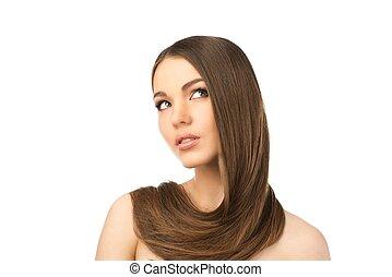beau, autour de, elle, jeune, longs cheveux, girl, cou