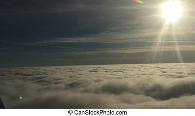beau, avion commercial, voler, nuages