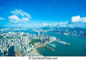 beau, bâtiment, hong, ville, kong, horizon, architecture, extérieur, cityscape