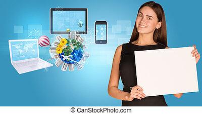 beau, bâtiments, holder., femme affaires, arbres, papier, tenue, électronique, la terre