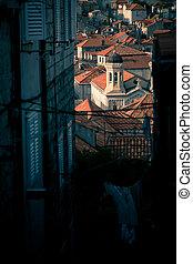 beau, bâtiments, vieux, dubrovnik, printemps, après-midi, morose